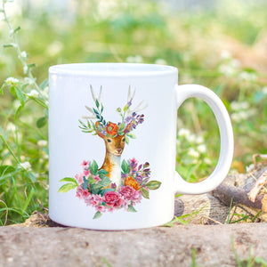 Deer floral mug printed by Sew Tilley