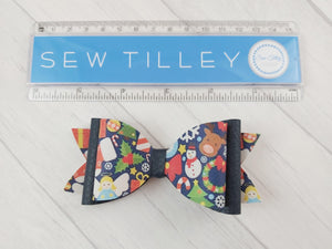 Navy Christmas Bow - Sew Tilley