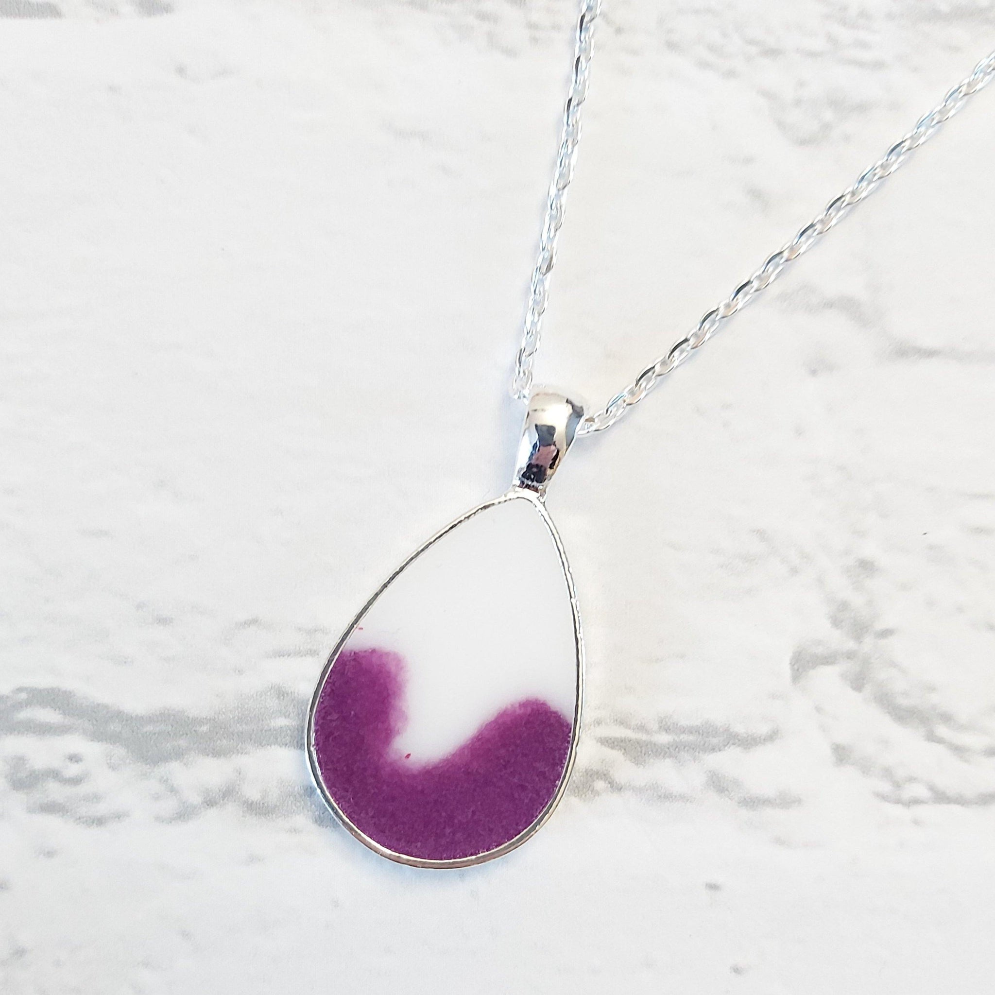 Purple and white teardrop pendant - Sew Tilley
