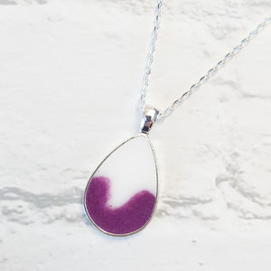 Purple and white teardrop pendant