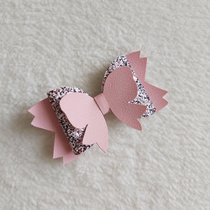 Pink sparkle hair bow - Sew Tilley