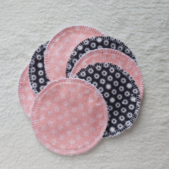 Reusable wipes 7 pack Pink and black - Sew Tilley