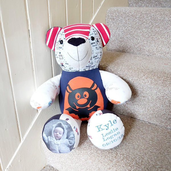 Special memory keepsake bear made from baby clothing and personalised with a photo