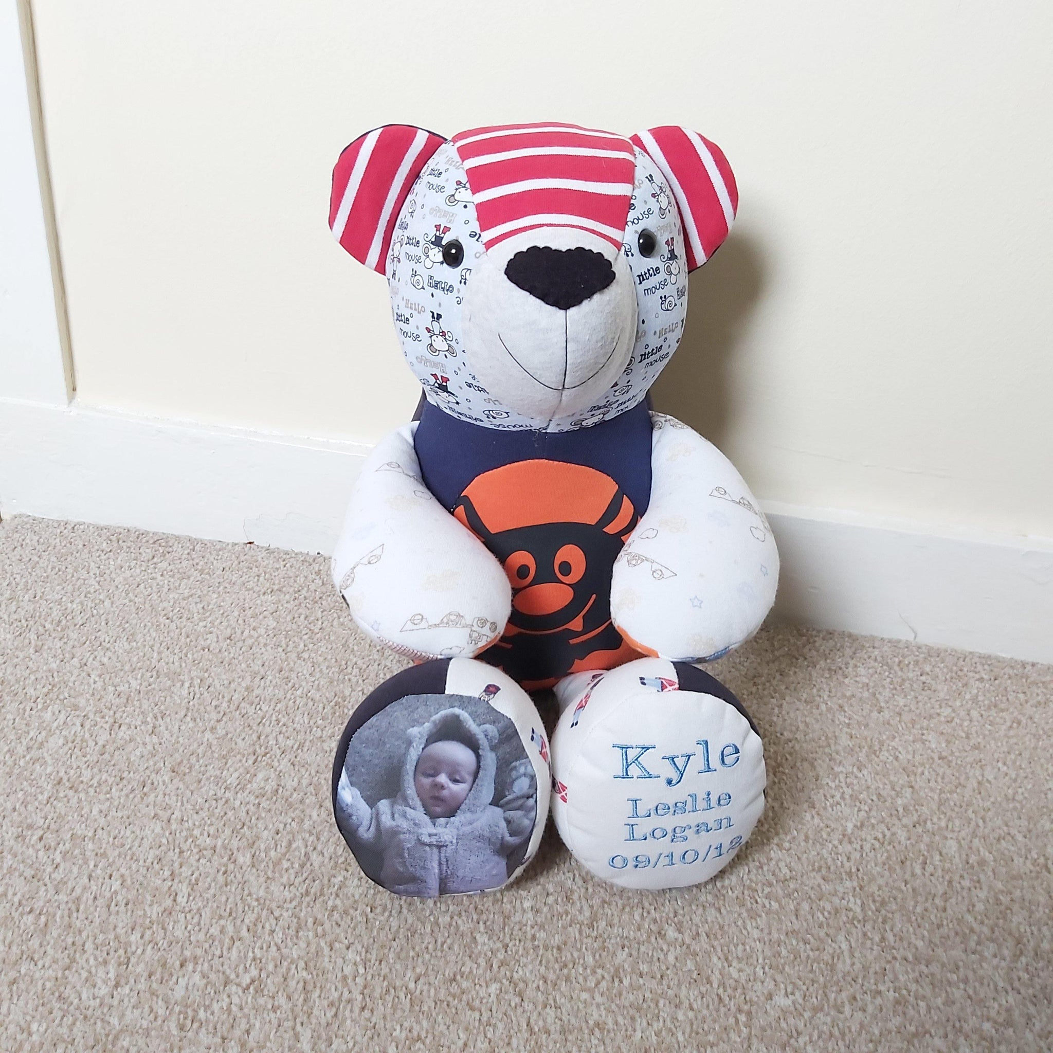 Personalised photo keepsake memory bear by sew Tilley. Add a photo and embroidery to make an extra special memory keepsake.