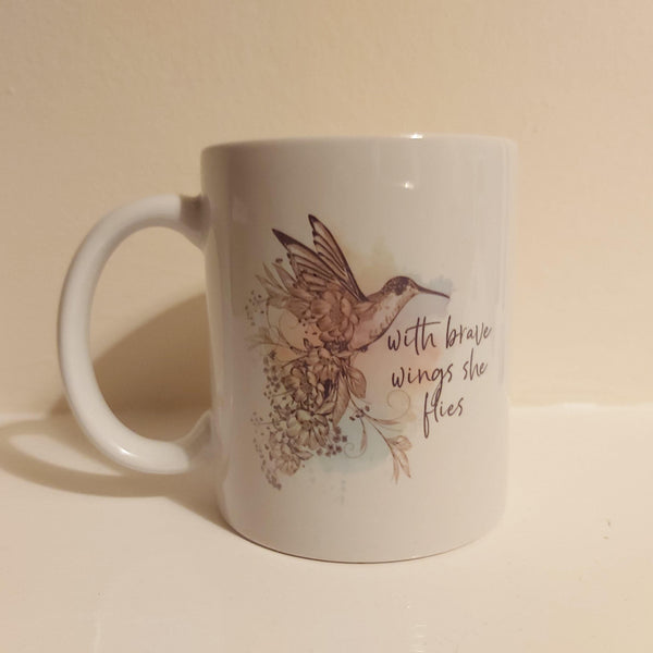 Misprint hummingbird mug