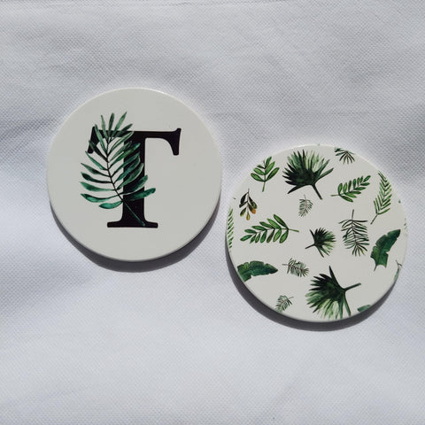 Tropical botanical set of coasters
