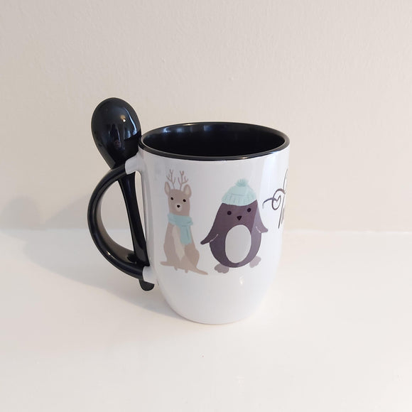 Cold days hot drinks mug with spoon - Sew Tilley
