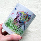 Watercolour elephant and splashes mug - Sew Tilley