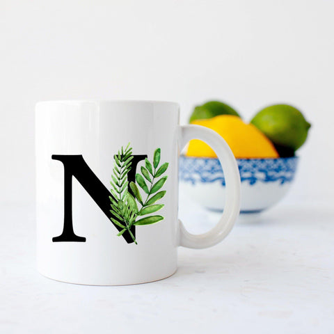 Botanical Tropical letter mug By Sew Tilley
