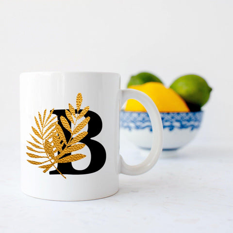 Tropical botanical Letter mug black and gold