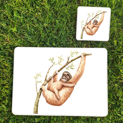 Sloth placemat and coaster sets by Sew Tilley