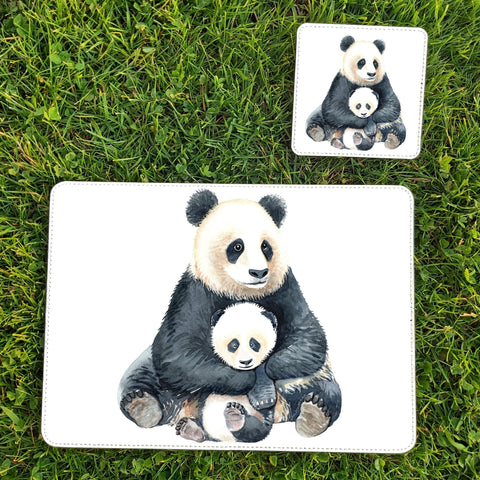 Panda placemats and coasters