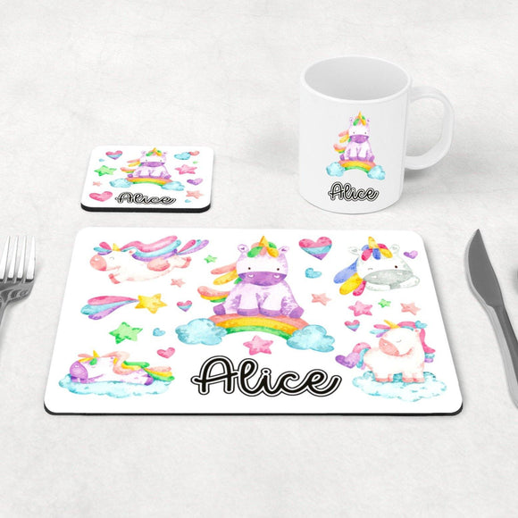 Unicorn placemat, coaster and mug set
