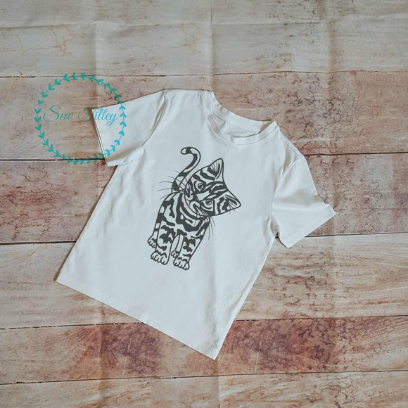 Child's cat print white T-shirt - Sew Tilley