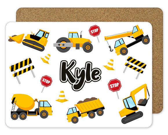 Personalised construction Placemat