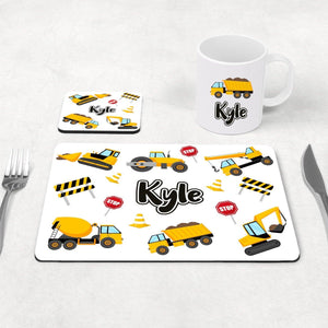 Construction placemat, coaster and mug set