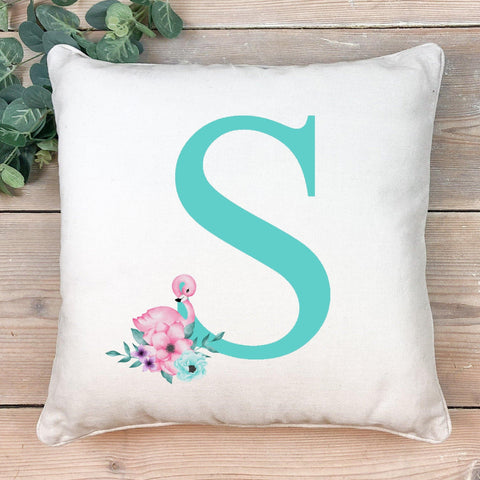 Flamingo initial cushion- green