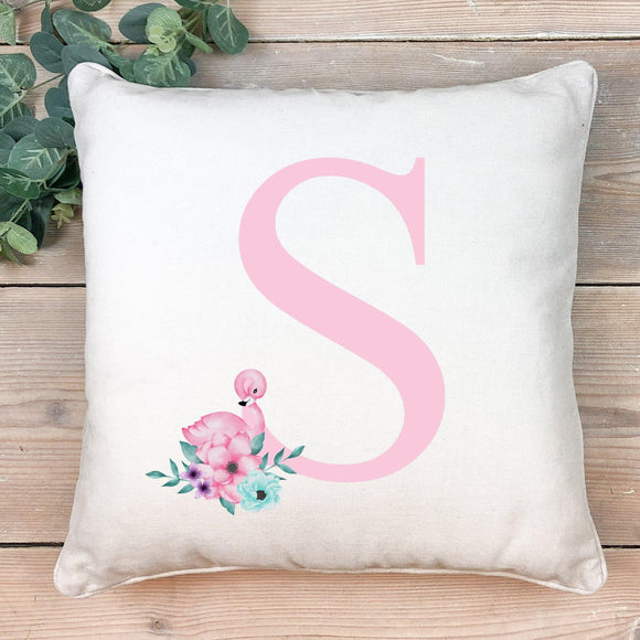 Flamingo pink initial cushion - Sew Tilley
