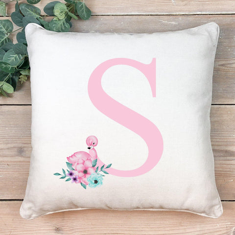 Flamingo initial cushion- Pink