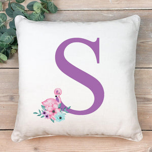 Flamingo initial cushion- purple