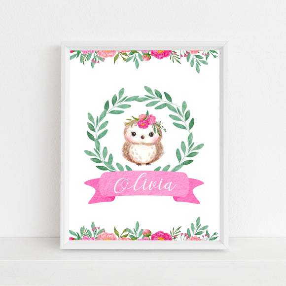 Pink woodland personalised print - owl - Sew Tilley
