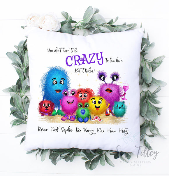 Crazy monster family cushion - Sew Tilley