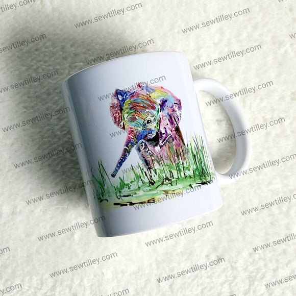 Watercolour elephant mug - Sew Tilley