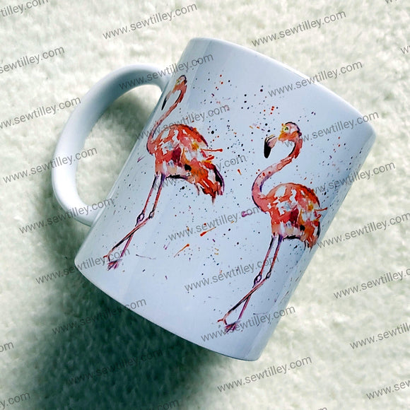 Watercolour Flamingo mug - Sew Tilley