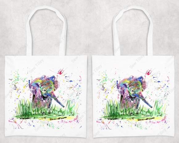 Watercolour elephant splashes tote bag - Sew Tilley