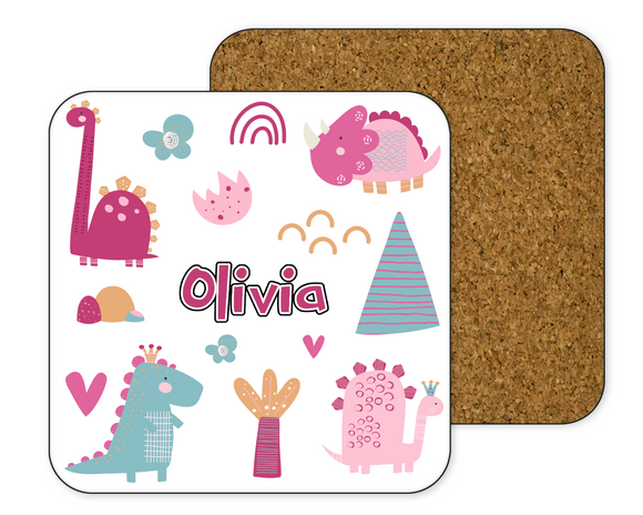 Personalised Pink Dinosaur Coaster
