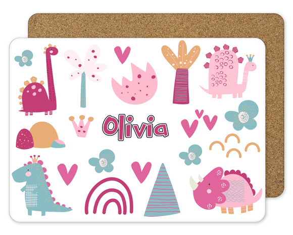 Personalised Pink Dinosaurs Placemat