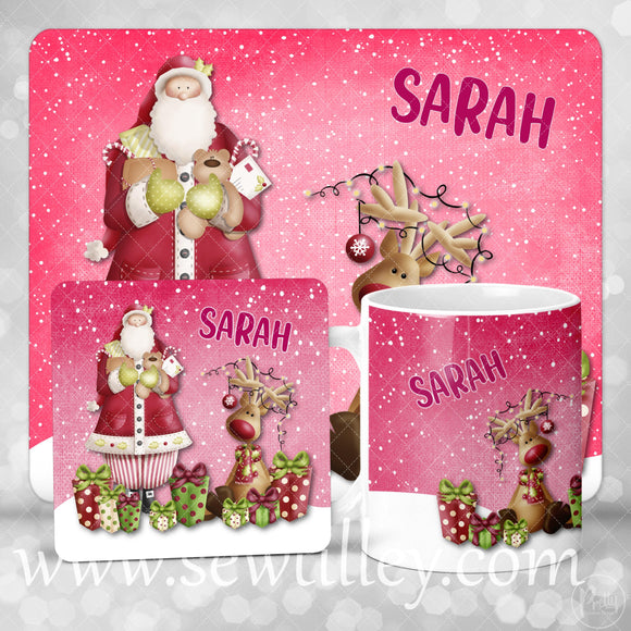 Pink Personalised Christmas coaster - Sew Tilley