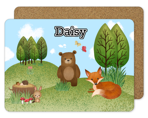 Woodland personalised placemat
