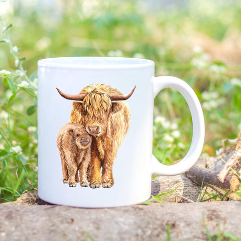 Handmade highland cow mug printed by Sew Tilley. Brighten up your morning brew with a heilan coo!