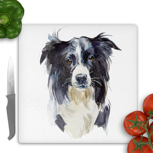 Border collie glass cutting board - 2 sizes and finishes - Sew Tilley
