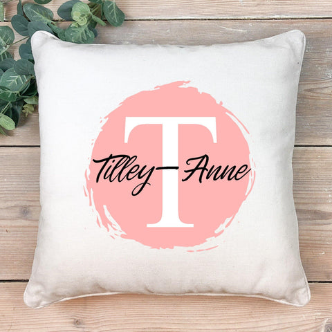 Circle initial and name cushion