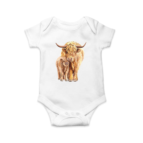 Highland cow baby body suit - Sew Tilley