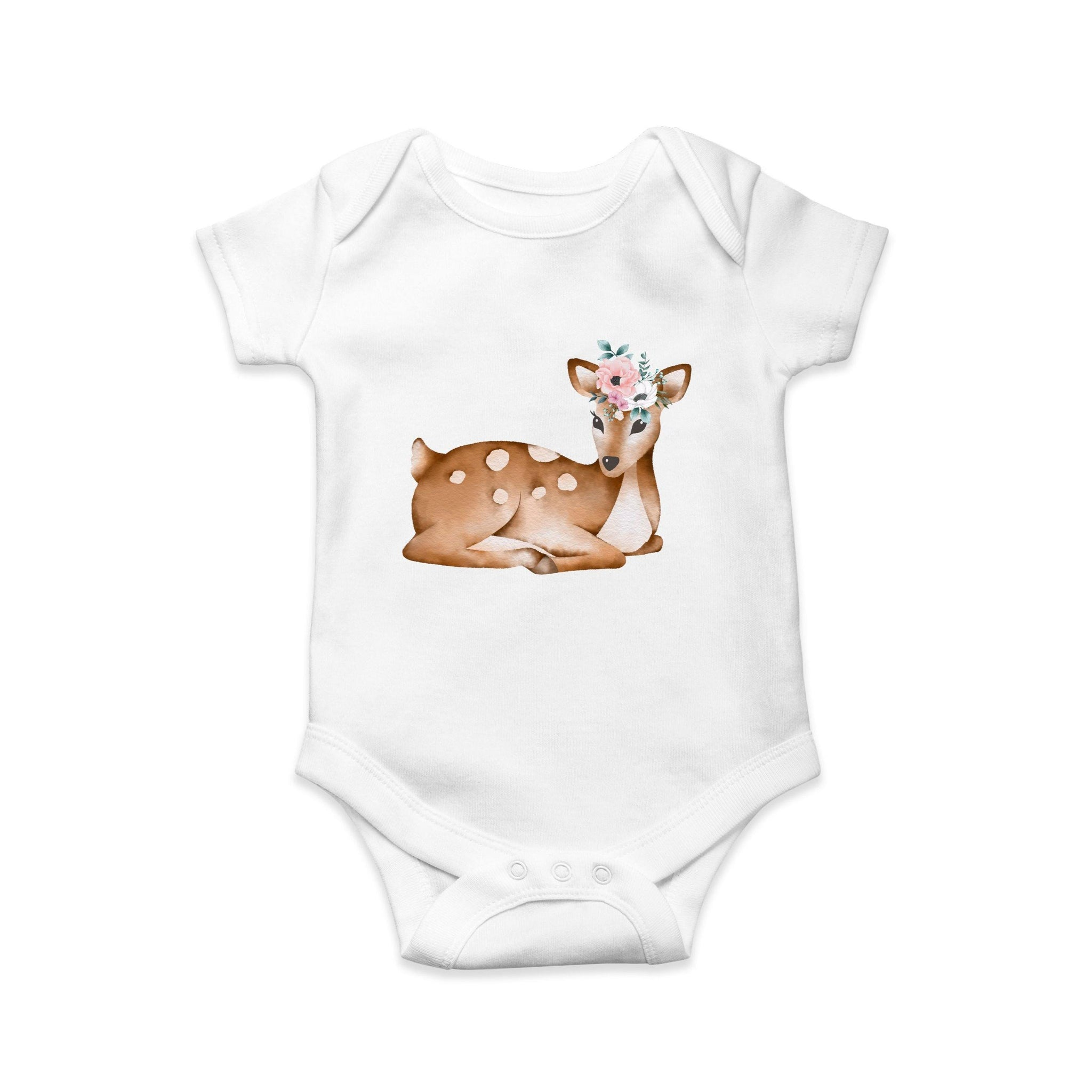 Laying deer and flower baby body suit - Sew Tilley