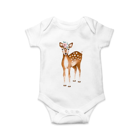 Deer baby body suit printed by Sew Tilley