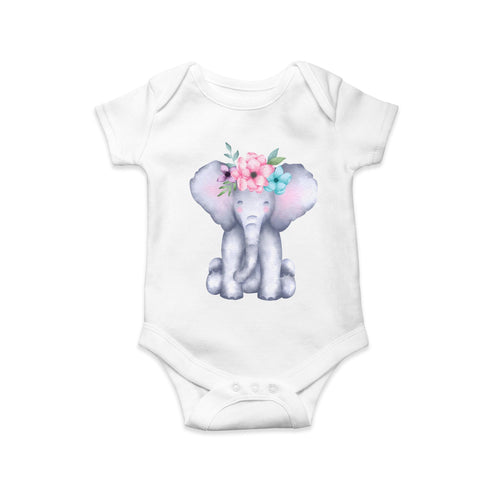 Elephant baby body suit by Sew Tilley