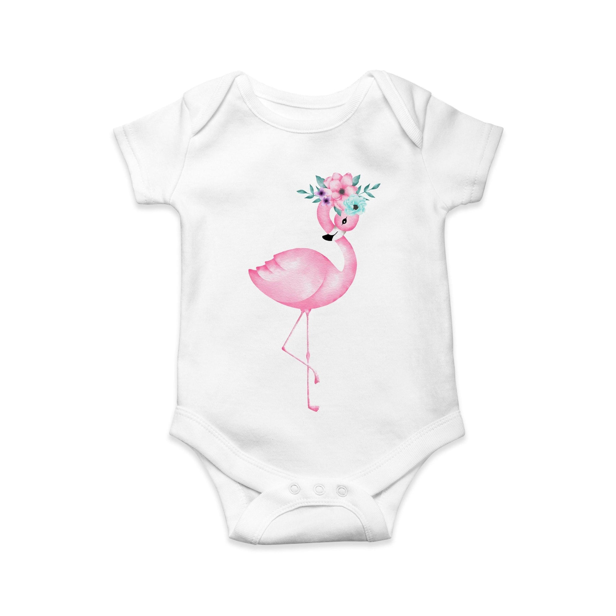 Flamingo and flower baby body suit - Sew Tilley