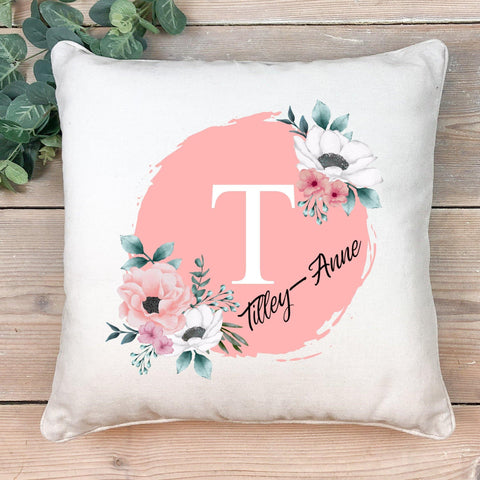 Flower circle initial and name cushion