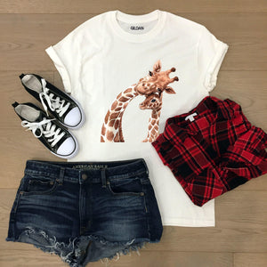 Womens giraffe T-shirt - Sew Tilley