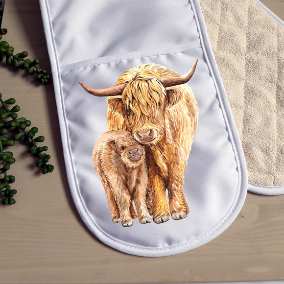 Highland cow double oven glove - Sew Tilley