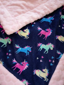 Soft pink unicorn baby blanket - Sew Tilley