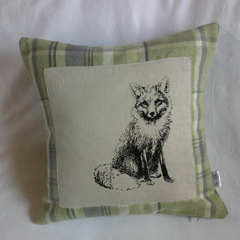 Fox print tartan cushion - Sew Tilley