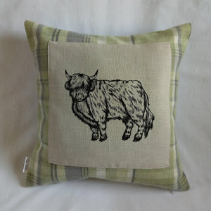 Highland cow print tartan cushion - Sew Tilley