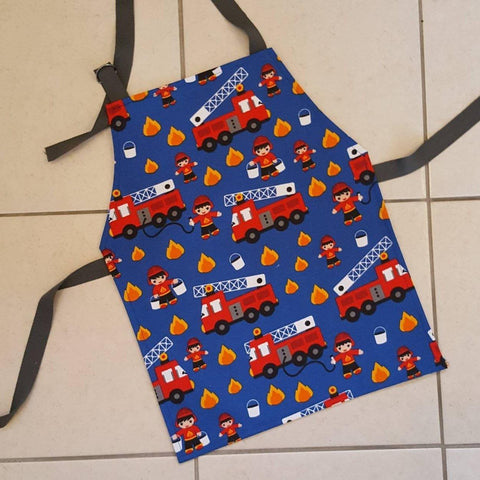 child's fire engine apron