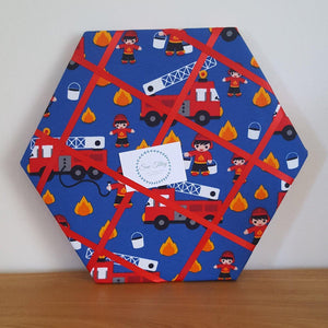 Memo Board, Fire Engine Hexagon memo board - Sew Tilley