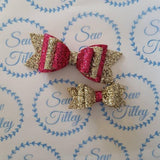 Pink and gold glitter hair bow set - Sew Tilley